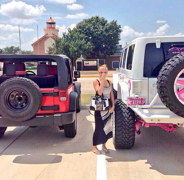 Dream car, white Jeep Wrangler with little splashes of pink. Love love love