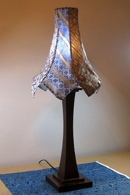 Upscale Lampshade - Ties sewn together and draped over a shape can make a great accent