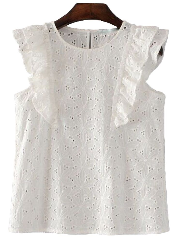 'Trudy' Frilly Lace Crochet Sleeveless Top