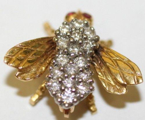 Diamond Bee Brooch