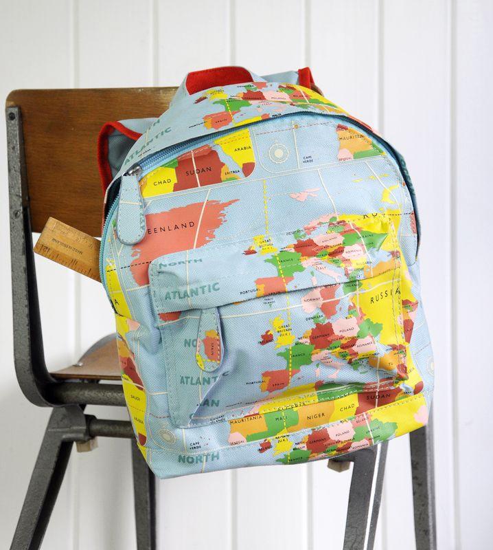 Retro detský ruksačik svetová mapa