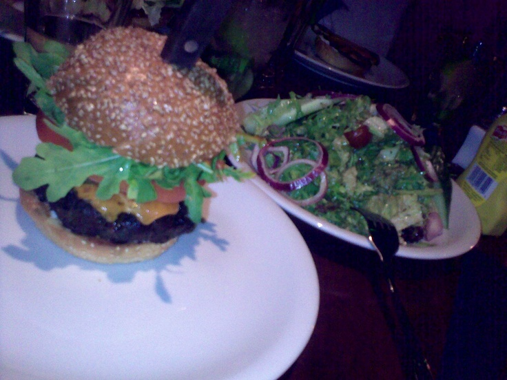 Hot fire burger with salad