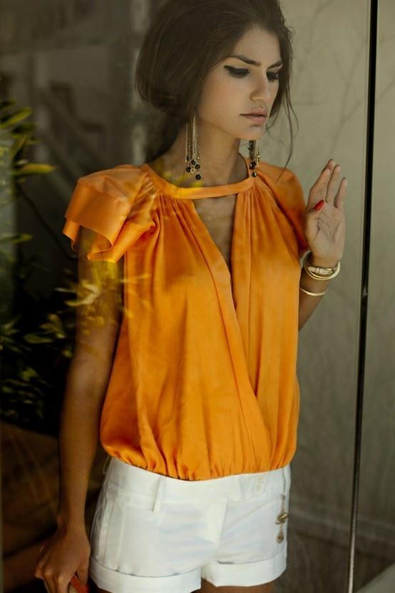 orange + white linenOrange, Fashion, White Shorts, Tops, Summer Looks, Summer Outfit, Summer Style, Classic White, Summer Chic
