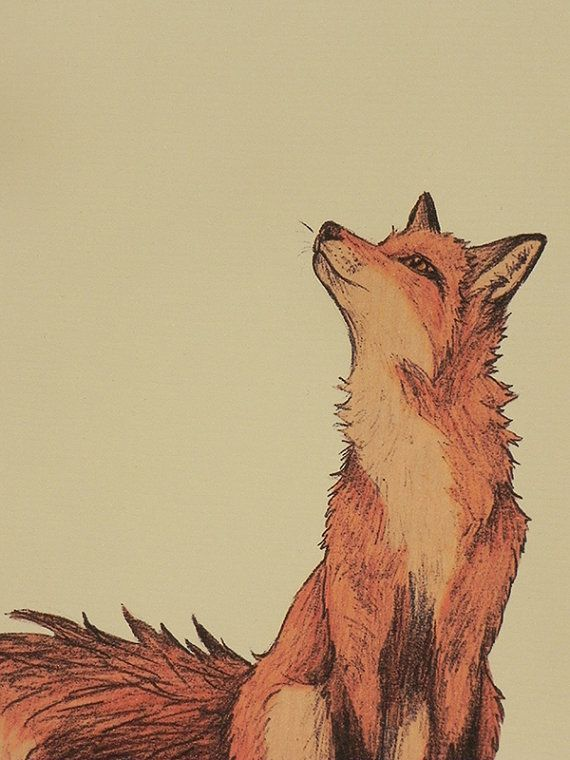 """""""Fox Illustration"""" detail by Lyndsey Green. My friend used this piece for one of hers in art class. She made the fox smokey with charcoal."""