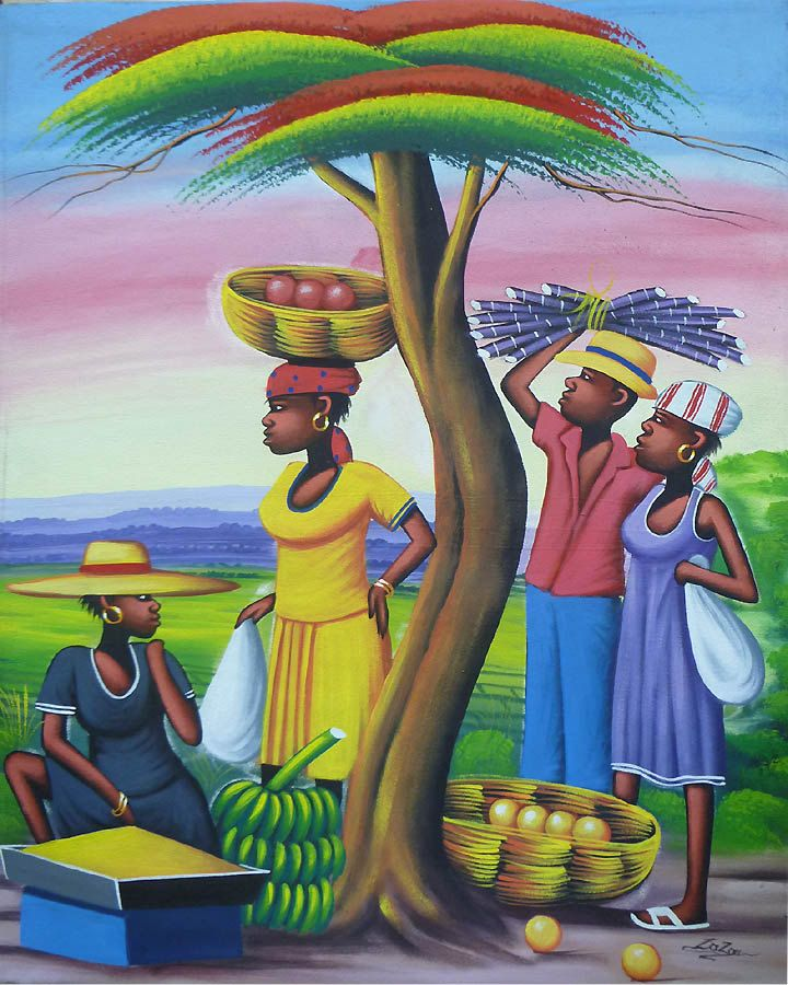 "Haitian Painting - Haitian Market People - Haitian Art - Hand Painted Canvas Painting - Original Art of Haiti - 20"" x 24"" by TropicAccents on Etsy"