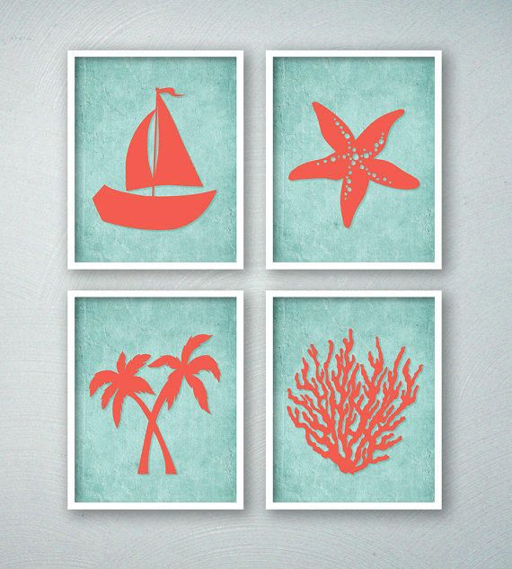 Tropical Bathroom Art - Tropical Bath Prints - Beach Bathroom Wall Art - Beachy - Saiboat Palm Trees Starfish Coral - Aqua Bathroom Decor