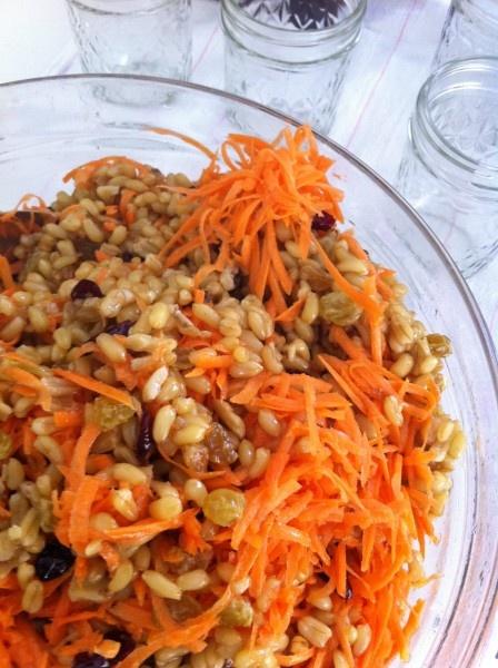 Kamut with Carrots,Walnuts, and Raisins