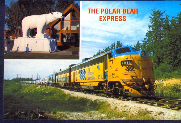 The Polar Bear Express, Cochrane, Ontario, Canada.  From Cochrane, Ontario to North Bay, Ontario, what a great 186 mile train ride, through the great north of Canada.  What fun!!  A one day round trip ride starts before sunrise and ends back in Cochranton at sunset.  The northern end of the trip takes you to North Bay and a trip across the bay by boat to Moosonee, Ontario, Canada.  My Dad took us to some amazing places and this was one of the best.