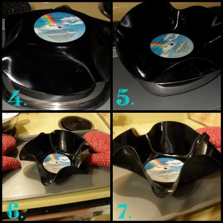 Making interesting bowls with old records (I made some of these bowls for a disco party and they turned out cool)