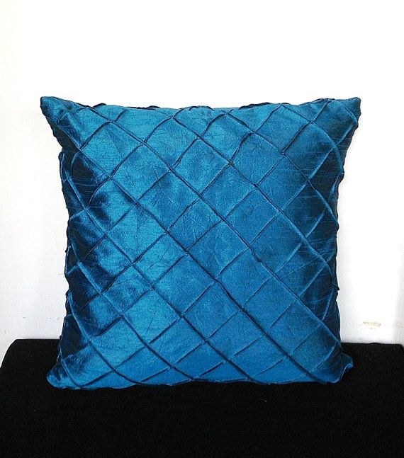 Teal Blue Decorative Pillow Pleated Silk Cushion Cover 18