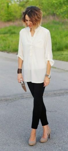 What To Wear To Work Today: 3 Quick Ways To Style Yourself Faster   If you're wearing leggings in the workplace, they usually look best over a long tunic, or shorter dress. The key to pulling off leggings at work is all dependent on the length of your top, and your accessories. Keep reading to find more tips!