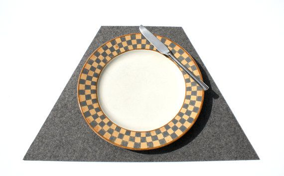 New Trapezoid Wedge Modern Placemat in 3mm Thick by feltplanet