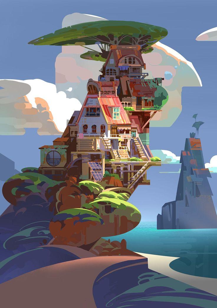 House and sea by Chaichan Artwachi digital art 2017