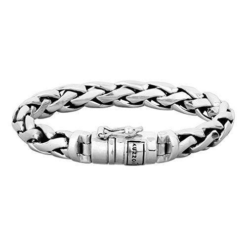 """Halukakah """"SOLO"""" Herren Echt-Leder Armband Schwarz mit Titan Perlen Silber 8.46""""(21.5cm) Magnetisch mit Kostenlosem Geschenkbox"""