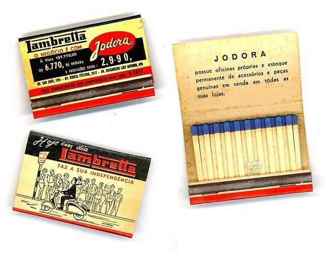 Caixa de fósforo, da Jodora, concessionária Lambretta no Brasil. Deve ser do final dos anos 50, pois o modelo ilustrado é uma LD.