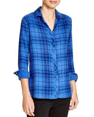 Just acquired! AQUA Bessy Plaid Shirt | Bloomingdale's