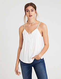 5e9bbcc9a1a6 AE SOFT & SEXY LACE UP SWING TANK, White | American Eagle Outfitters ...