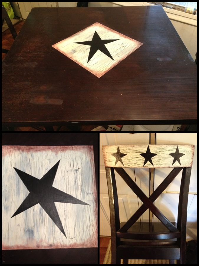 i redid our kitchen table and chairs did a primitive star design with a chipped - Primitive Kitchen Tables