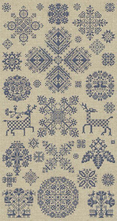 Reindeer Pincushion Christmas Cross Stitch Pattern by modernfolk