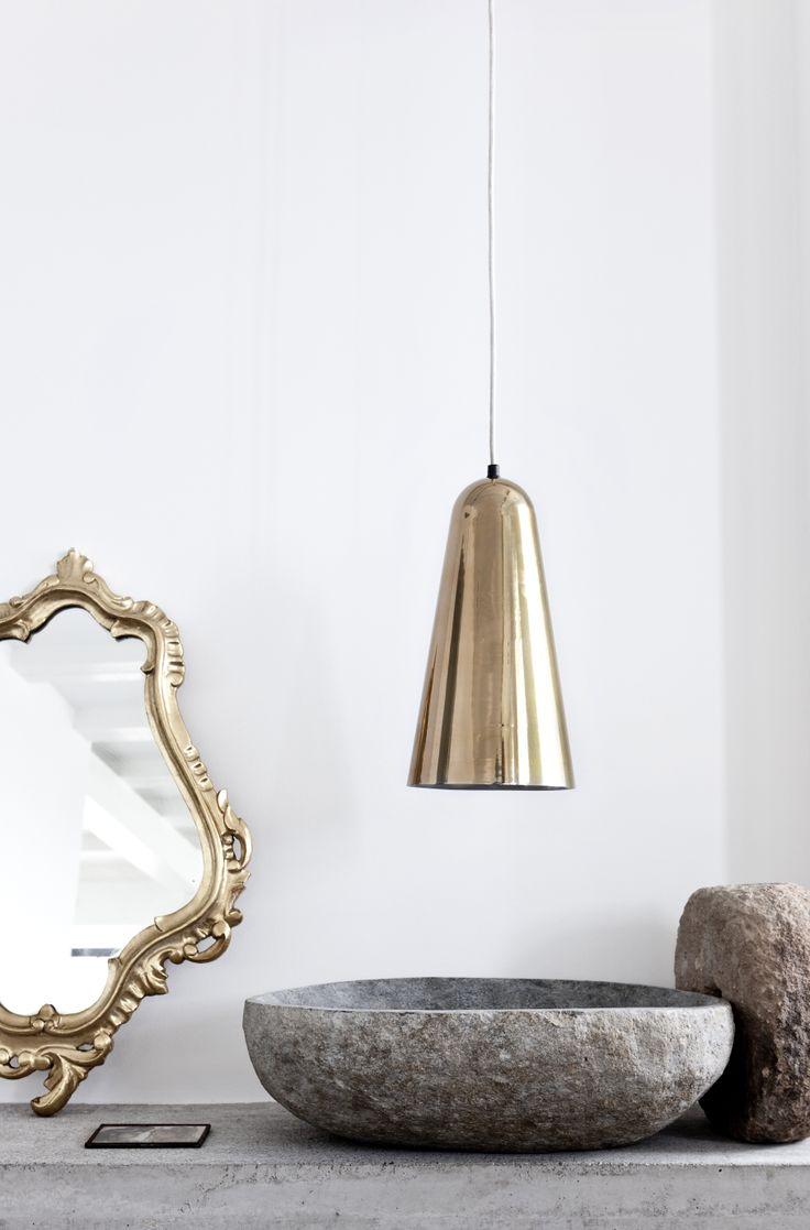 Setting the mood with a gold pendant lamp by Lisbeth Dahl Copenhagen. Spring/Summer 2014. #LisbethDahlCph #dustandsparkle #pendant #mirror #gold