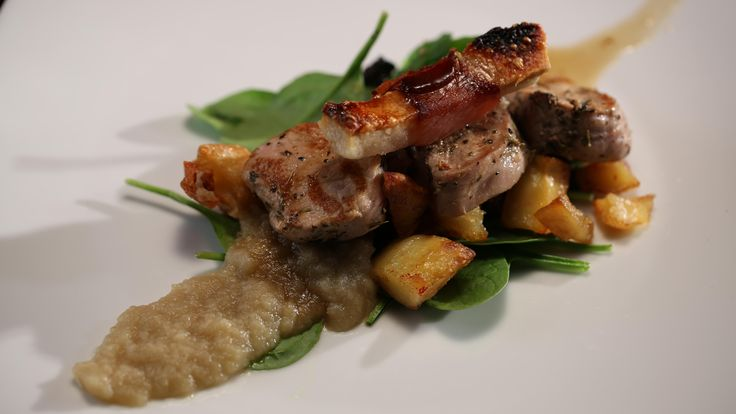 Lisa and Candice's Pork with Pancetta Crackle, Vegetable Medley, Onion Purée, Brandy Jus and a Cider Jelly Shot from season 4 of My Kitchen Rules: http://gustotv.com/recipes/lunch/pork-pancetta-crackle-vegetable-medley-onion-puree-brandy-jus-cider-jelly-shot/