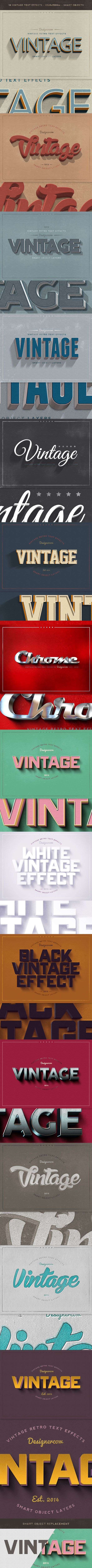 New Vintage Retro Text Effects for Photoshop. Download here: http://graphicriver.net/item/new-vintage-retro-text-effects/9373491?ref=ksioks