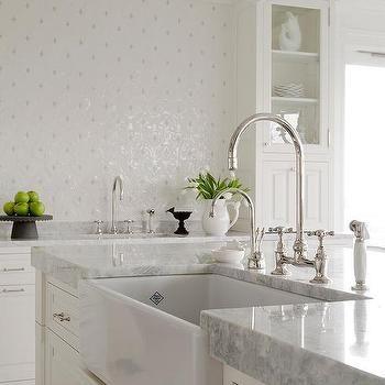 Princess White Quartzite Countertop with Farmhouse Sink
