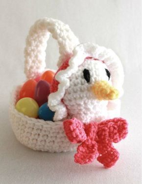 "Watch Easter Baskets and Toys Crochet Patterns Review! Design By: Donna Harelik Skill Leve: Easy Size: Basket Base = 6"" Materials: Worsted Weight Yarn: Goose Basket: White (MC) – 4 oz, 264 yds; small"