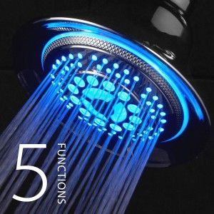 LED Showerhead Not only does it have colored light streaming from it, but it also has 5 water settings. You can set it to Power Rain, Pulsating Massage, Hydro-Mist, Economy Rain and Water-Saving Pause.