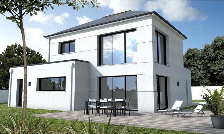 Maison de 3 chambres à l'architecture contemporaine : nombreuses ouvertures dont des baies 3 vantaux au rez-de-chaussée et à l'étage,[...]