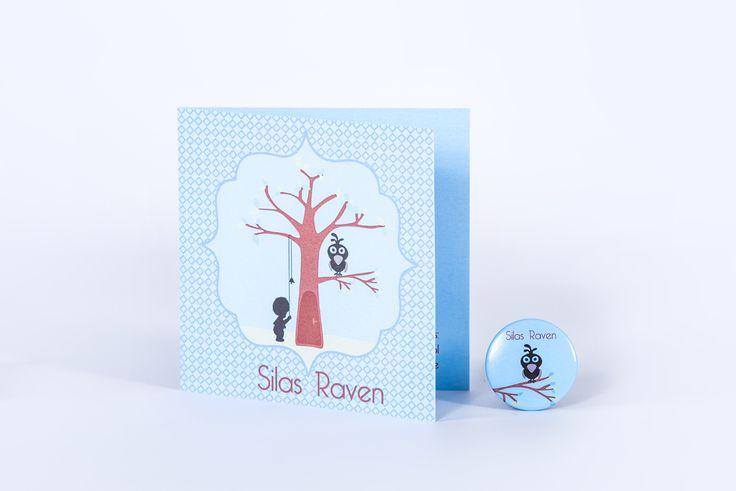 geboortekaartje Silas Raven: boom, raaf, retro achtergrond doopsuiker: magneet