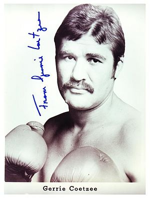 """Gerhardus Christian Coetzee (born 8 April 1955 in Boksburg), better known as Gerrie Coetzee, is a South African former boxer. He made history twice: he was the first boxer from the African continent ever to fight for, and win, a world heavyweight title. His nickname was The Bionic Hand, because he always had trouble with his right hand. His Afrikaans nickname was """"Seer Handjies"""" or little sore hands, named so by fellow South African boxing great Kallie Knoetze."""