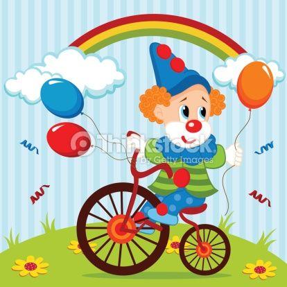 Vector Art : clown on bike