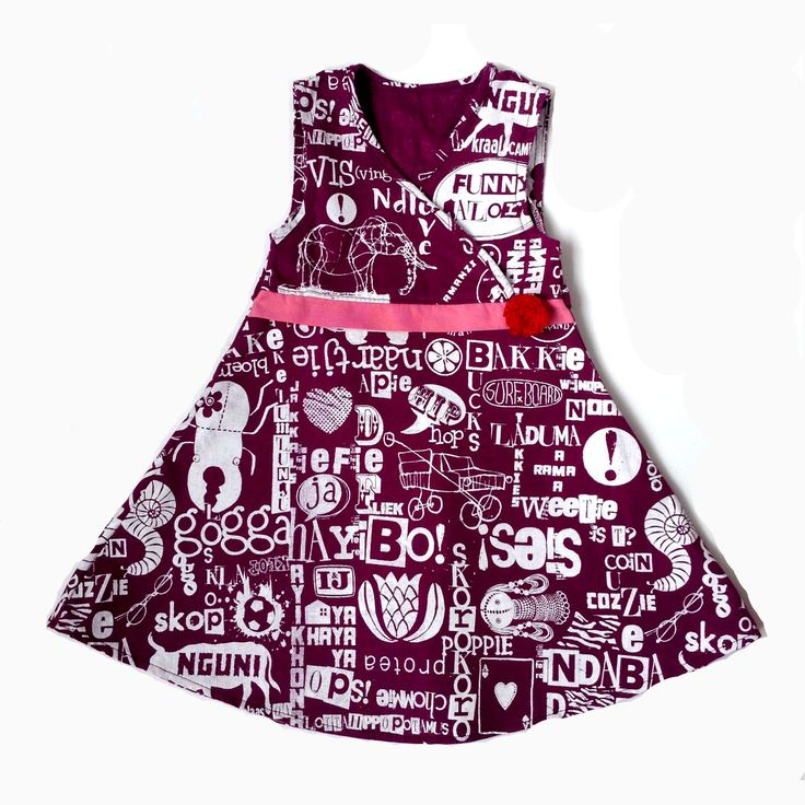 Girls Hand-printed Dress with crochet flower. Sizes 6-12months, up to 5-6years