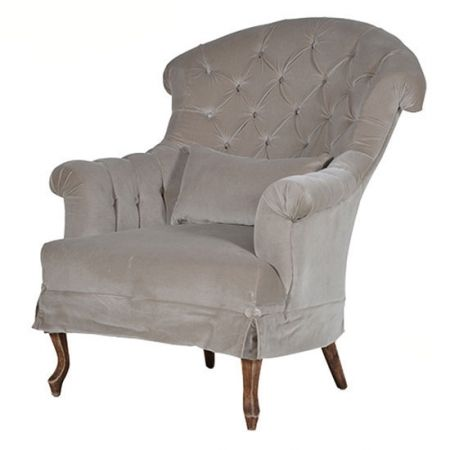 French style fawn velvet armchair - £775.00 Shop > http://www.beau-decor.co.uk/chairs/french-style-fawn-velvet-buttoned-armchair?cPath=173&