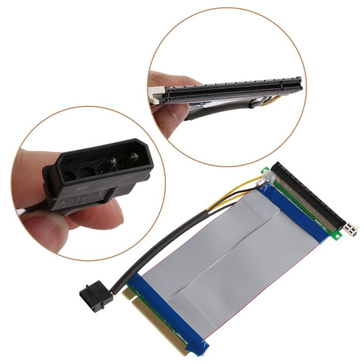 Powered PCI-E 16X to 16X Adapter Riser Extension Cable Molex Power Connector