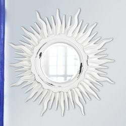 Дизайнерское зеркало в виде Солнца Белый Шебби-шик