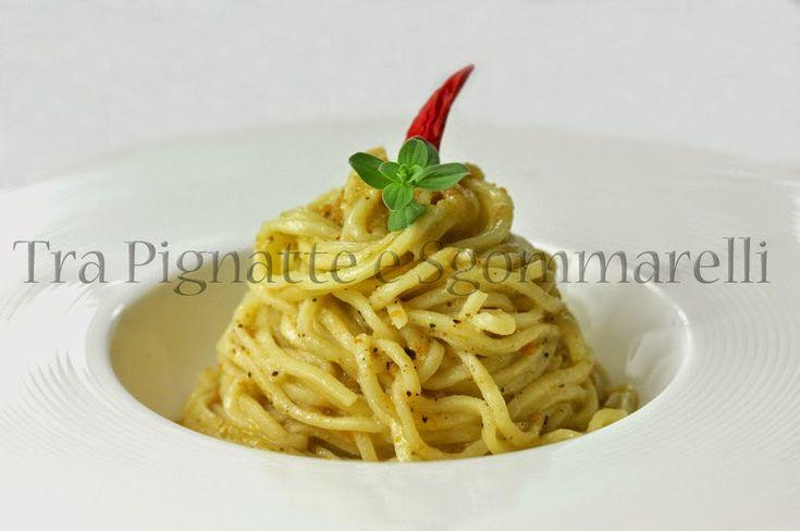Le mie ricette - Spagolino con bottarga, limone e polvere di nocciole alla maggiorana   Tra Pignatte e Sgommarelli