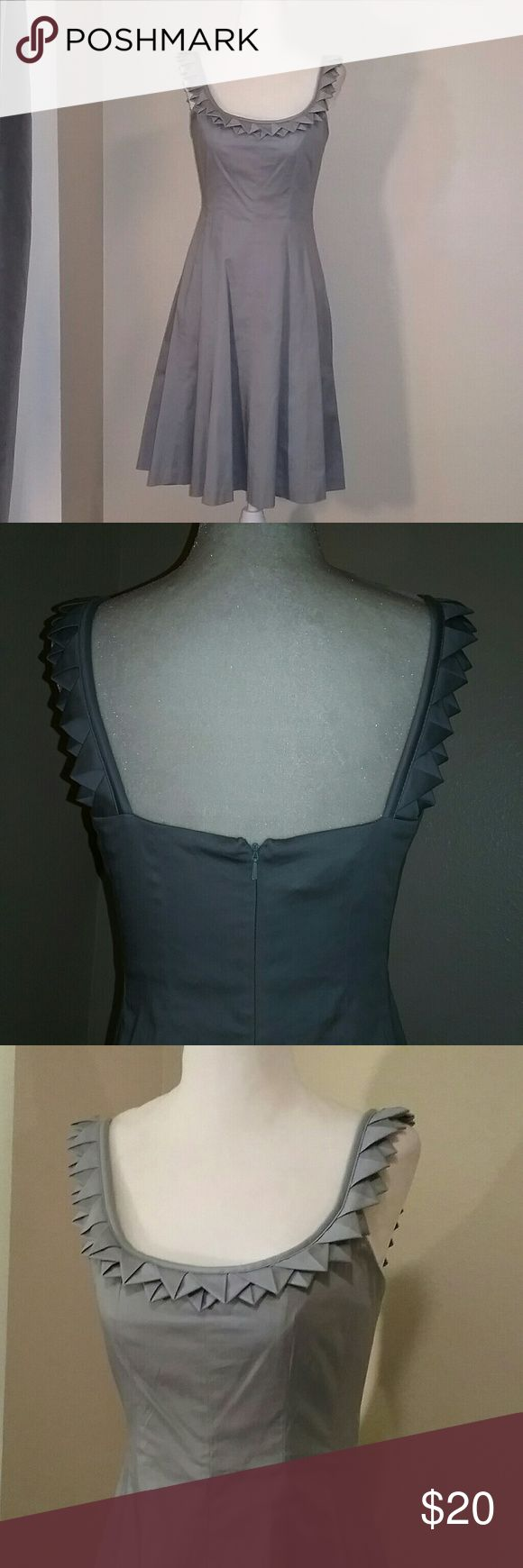 "Nine West Scoop Neck Grey Dress Sz 2 Beautiful cotton dress with unique pointed pleating around neckline, and loose pleating in skirt. 12"" back zipper. 35"" long from nape of neck to lower back hem. Bust area is lined. EUC. 98% cotton. 2% spandex. Dry clean. Nine West Dresses"