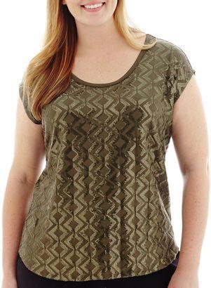 LIZ CLAIBORNE Liz Claiborne Sleeveless Sequin T-Shirt - Plus - Shop for women's T-shirt - Olive Grove T-shirt