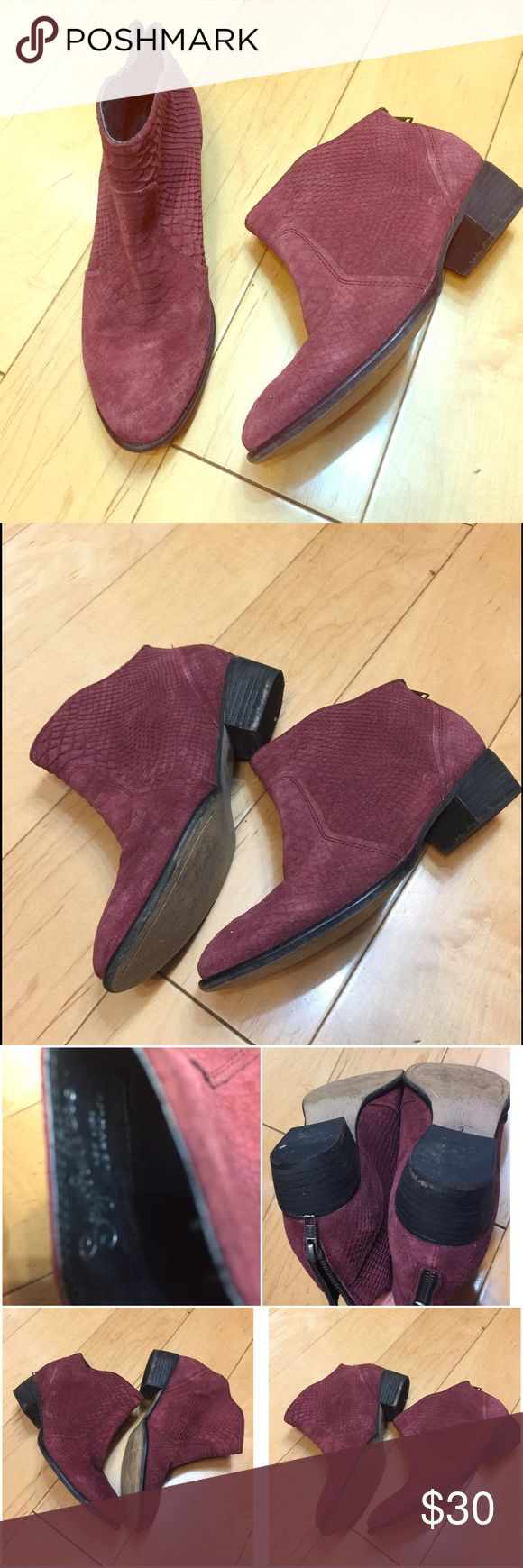 Seychelles boots maroon 9 Seychelles boots maroon color, snakeskin pattern. Real Leather. Size 9. Zippers at the back. Very comfortable! Barely used in EUC Seychelles Shoes Ankle Boots & Booties