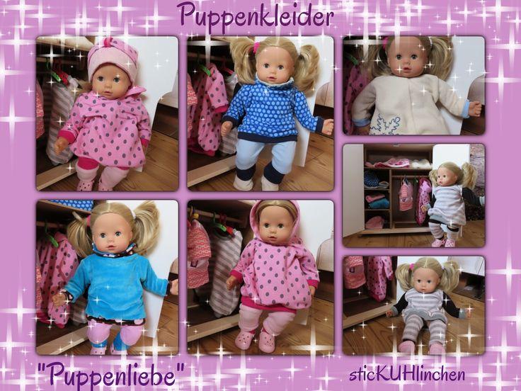 """Puppenkleider nach """"Puppenliebe"""" von www.rosarosa.net genäht von sticKUhlinchen #Puppenliebe , # Puppenkleider"""