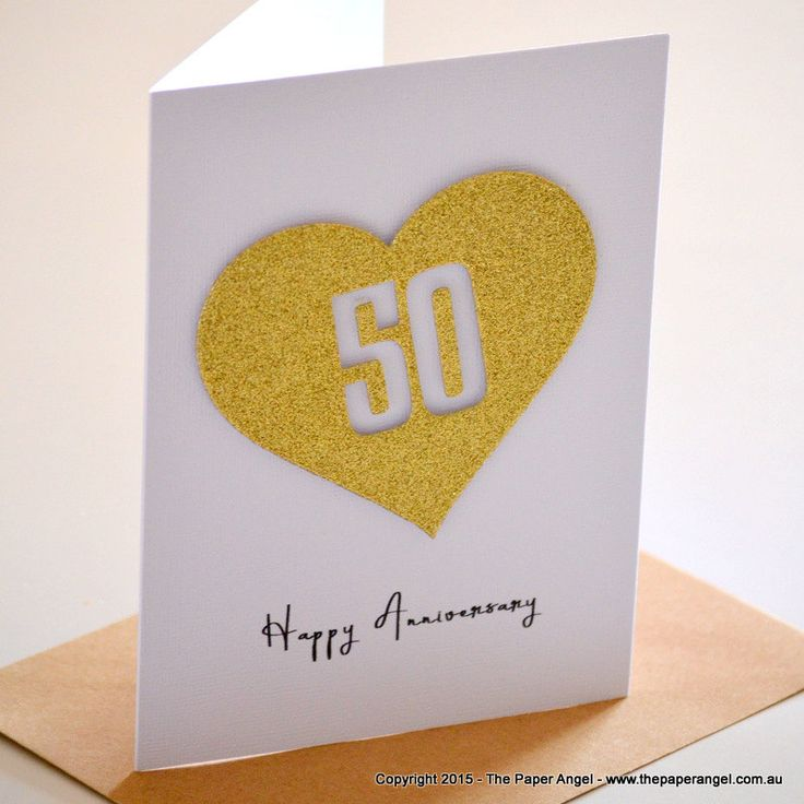 Gold Wedding Anniversary Card|50th Wedding Anniversary Card |Wedding Anniversary Cards |50th Anniversary|Gold Heart |Customise ANN001 - pinned by pin4etsy.com