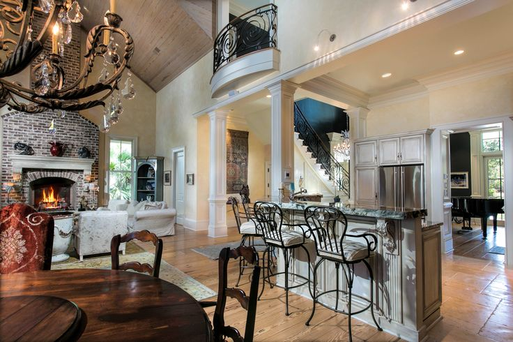 Great Room with Vaulted Ceiling   Open Concept Living Room   Brick Fireplace   Luxury Real Estate South Carolina