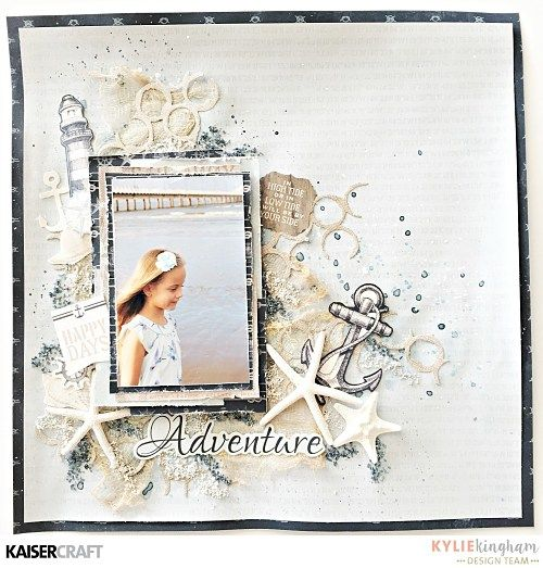 'Adventure' layout by Kylie Kingham Desigm Team member for Kaisercraft using their 'High Tide' collection and die or template. saved from kaisercraft.com.au/blog/ Wendy Schultz - Scrapbook Layouts.