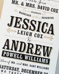 Jessica + Andrew's Vintage-Inspired Typography Wedding Invitations