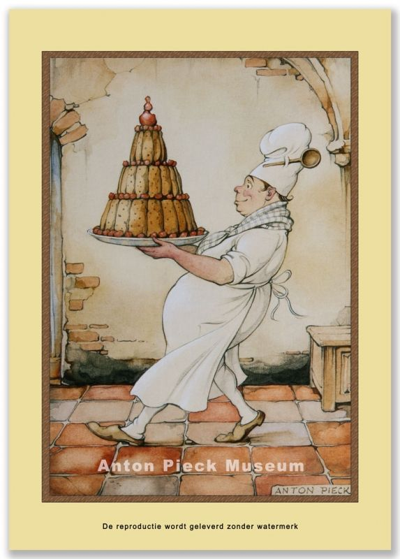 Bakker met taart   Midden formaat   Anton Pieck winkel