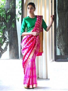 Anar Jhadi Fuschia Silk Zari Handwoven Saree by Raw Mango