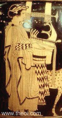Apollo, god of music, playing the lyre   Greek vase, Lucanian red figure volute krater