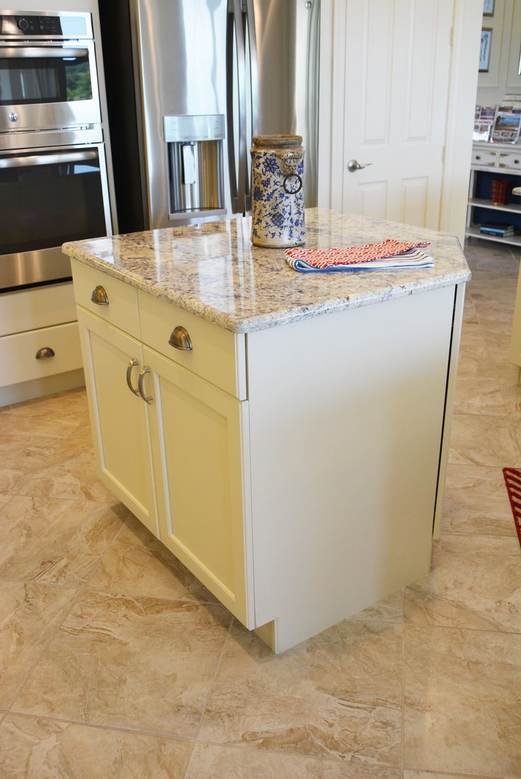 Island with granite counter.